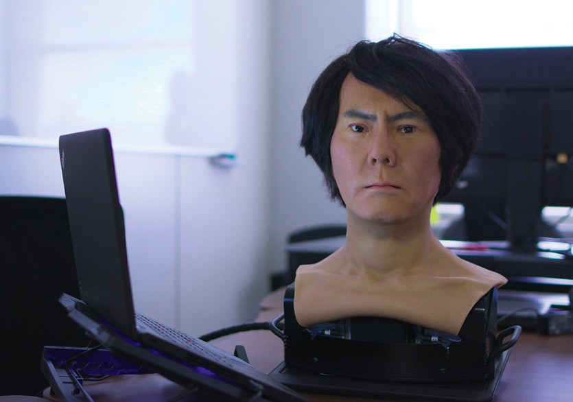 Ishiguro's idea behind making copies of real people is to transfer the presence of the human to the robot.
