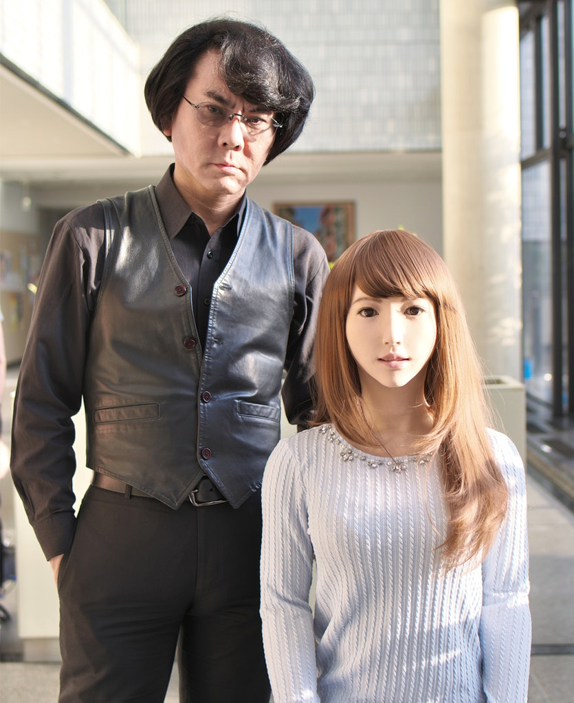 """Hiroshi Ishiguro with Erica: her behaviour is controlled by """"simple intentions and desires"""", he says. """"That is the main difference to Siri."""""""