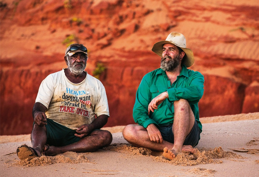 Songlines and science: Goolarabooloo elder Phillip Roe and palaeontologist Phil Bell. Indigenous dreamtime stories differ with the scientific perspective but the two groups have been allied in the effort to preserve the dinosaur prints.