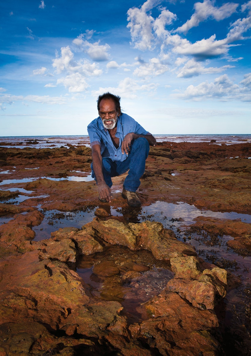 Time and tides: some tracks are exposed for only a short time each day. Researchers must move fast. Local knowledge has been invaluable in helping them recognise often difficult-to-spot impressions in the rocks.