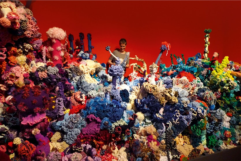 FÖHR SATELLITE REEF from the Crochet Coral Reef project - Margaret & Christine Wertheim and the Institute for Figuring, at the Museum Kunst der Westkuste, Germany.