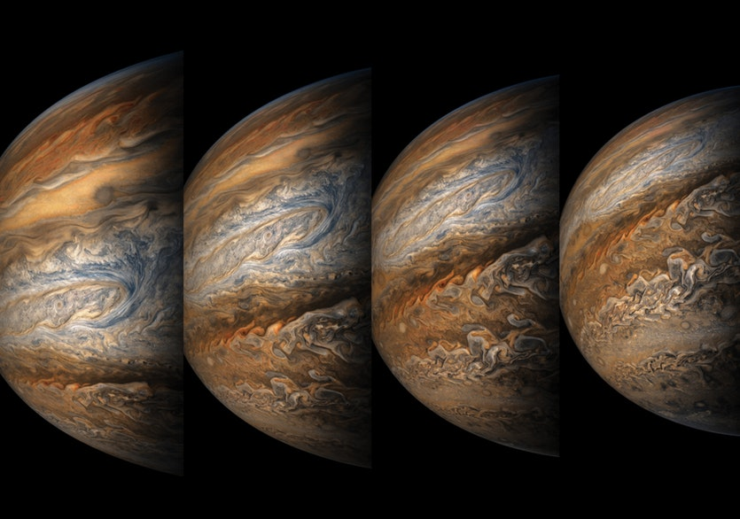 Juno snapped this sequence of images during her eighth close approach to the gas giant in September 2017.