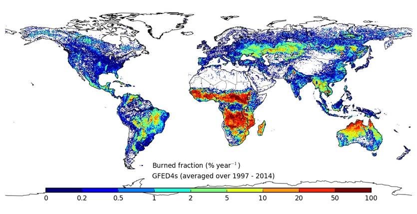 Map showing the amount of annual burning around the world in the period 1997-2014.