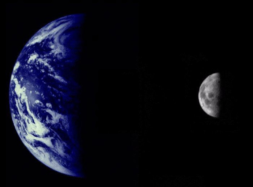 Mariner 10 was the first spacecraft to return high-resolution digital colour images. These photos of the the Earth and Moon were taken from 2.6 million km away.