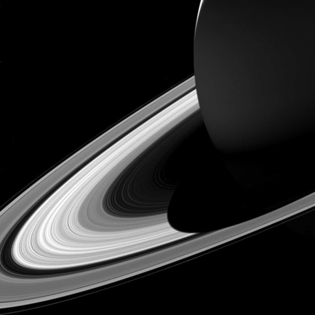 The shrinking shadow on Saturn's rings.