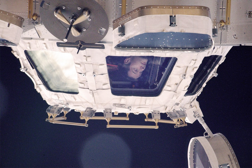 Astronaut Thomas Pesquet in the cupola of the International Space Station.