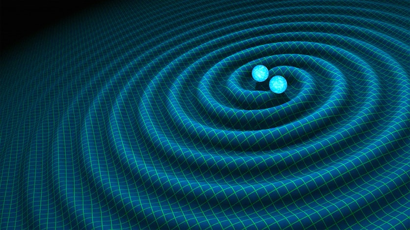 Colliding black holes first spiral in towards each other, throwing off ripples in spacetime as they do.