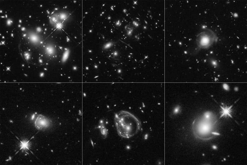 These six Hubble Space Telescope images reveal a jumble of misshapen-looking galaxies.