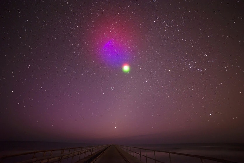 Coloured artificial luminescent clouds produced by spraying a mixture of barium, strontium and cupric-oxide from a sounding rocket.