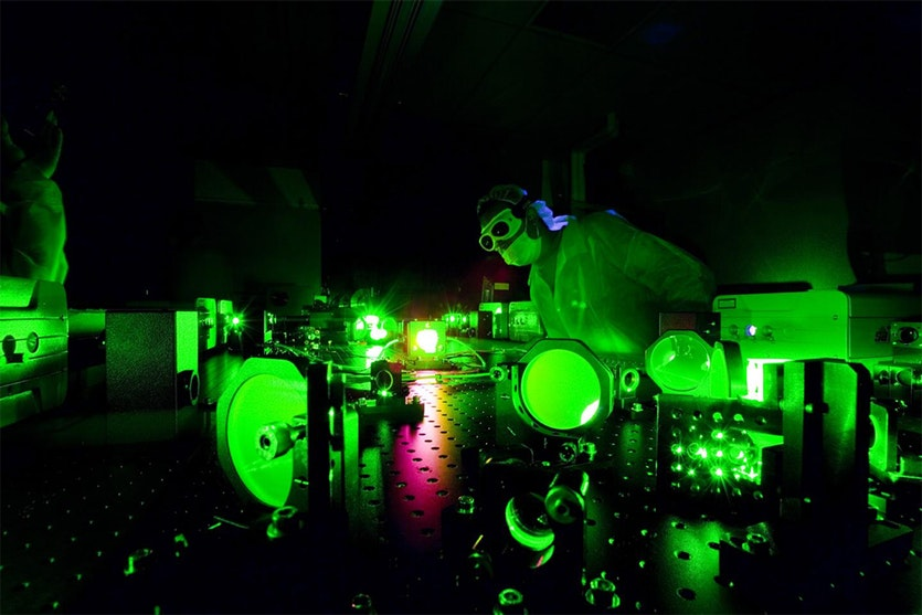 A scientist at work in the Extreme Light Laboratory.