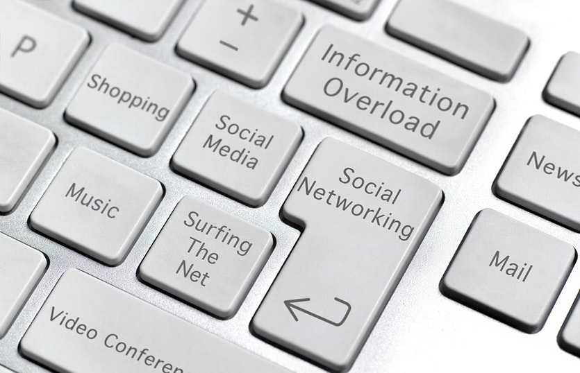 A computer keyboard with keys labelled 'Social Networking', 'Information Overload', 'Surfing the Net' etc.