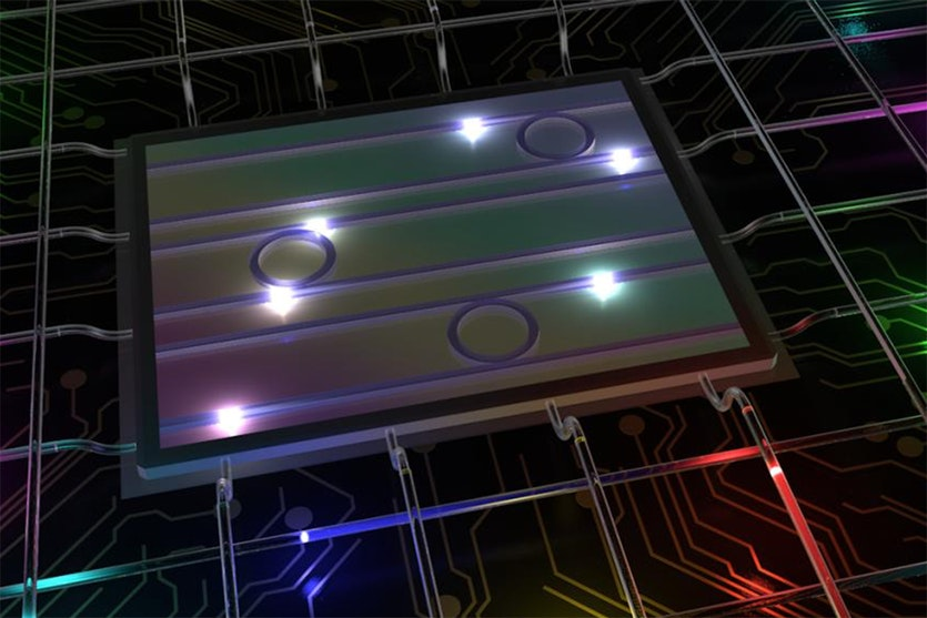 An illustration showing high-dimensional color-entangled photon states from a photonic chip, manipulated and transmitted via telecommunications systems.