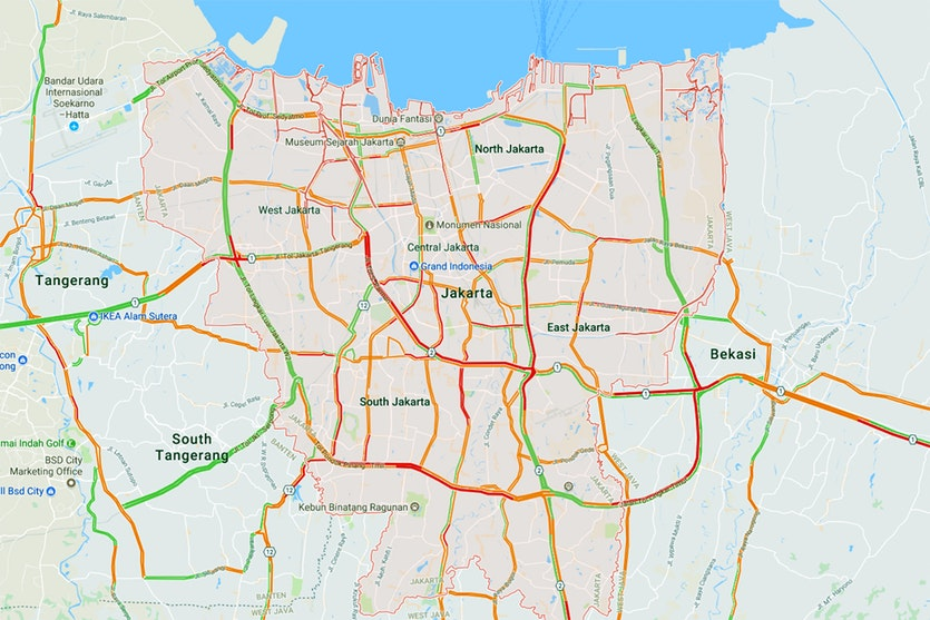 Map showing typical traffic congestion in Jakarta's evening peak hour.