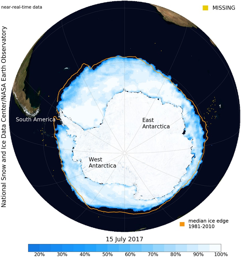 Map of Antarctica showing the extent of sea ice.