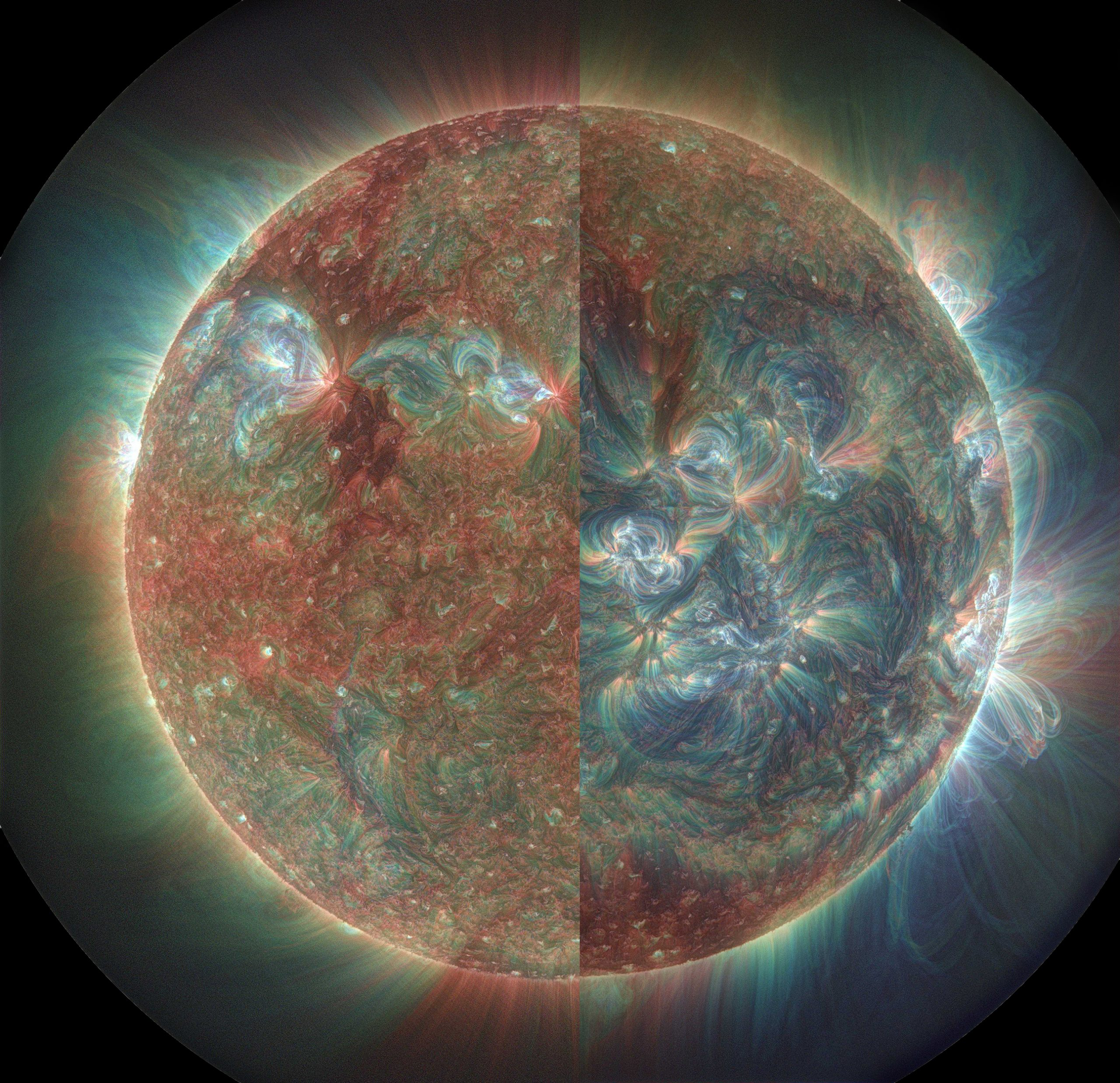 Solar cycle changes in the solar corona as viewed by Atmospheric Imaging Assembly (AIA) on the Solar Dynamic Observatory in extreme ultraviolet (EUV) toward the end of the latest solar minimum activity period in May 2010 (left half) and during the current solar maximum period in December 2014 (right half).