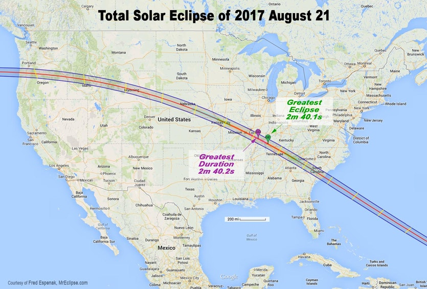 The path of totality across the US on August 21, 2017.