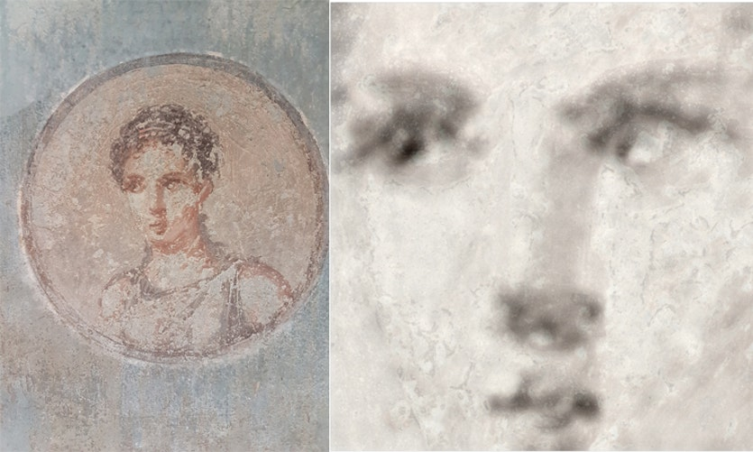 An iron element map (right) made with new X-ray technology reveals the underlying craftsmanship hidden beneath a damaged portrait of a Roman woman (left).