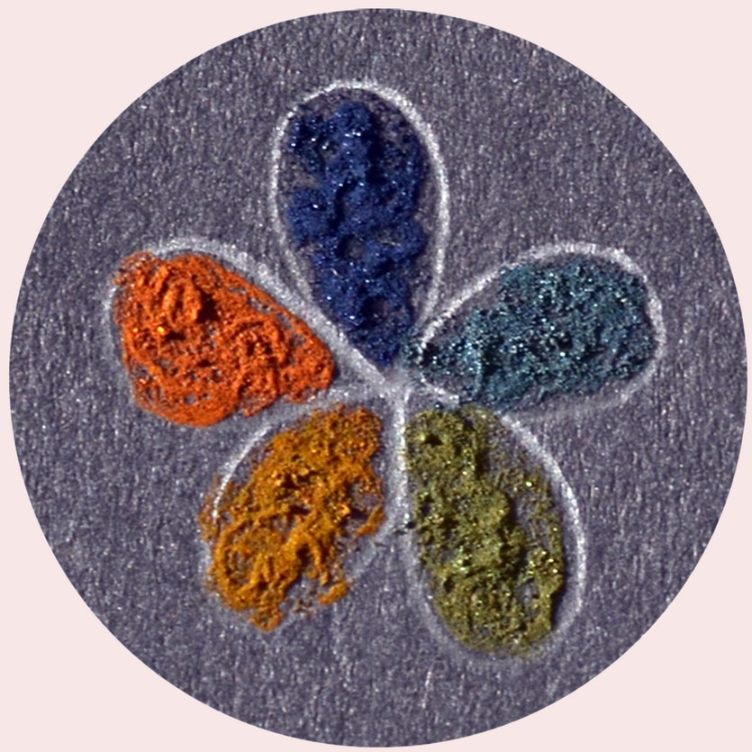 Different shades of 'supraball' pigment.