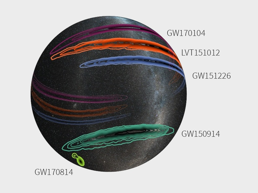 Sky map showing the approximate locations of all gravitational wave detections so far.