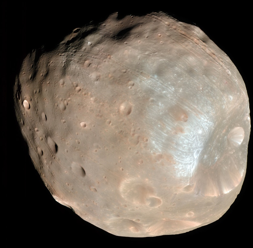 A colour image ofPhobos imaged by theMars Reconnaissance Orbiteron 23 March 2008.