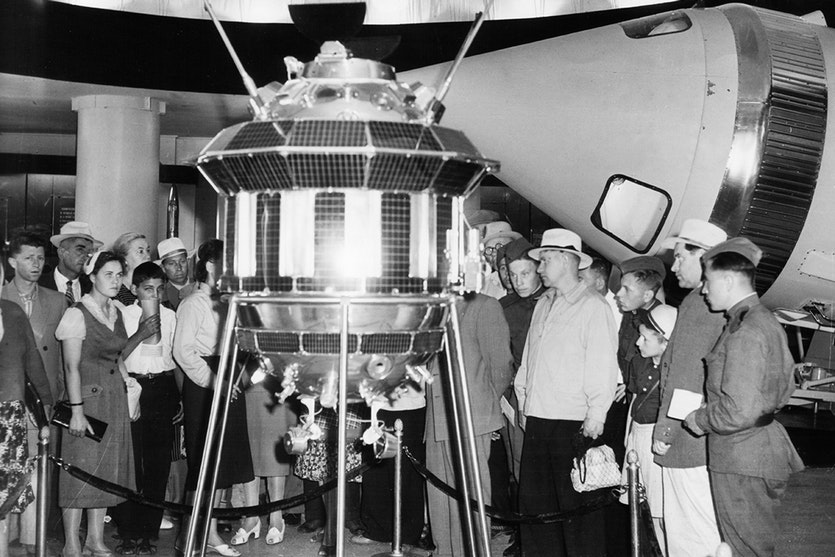 A model of the Luna 3 at the USSR Academy of Sciences in Moscow, 1960.