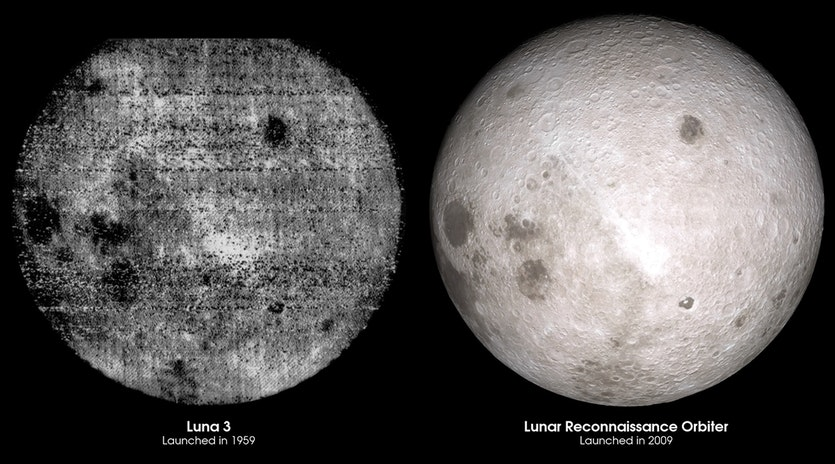 Comparison of the first photograph of the lunar far side, from Luna 3, and a visualisation of the same view using LRO data.