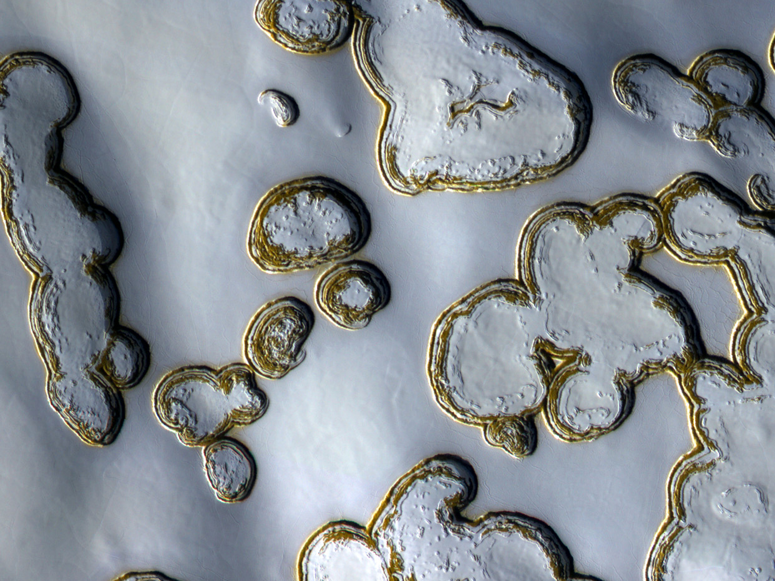 Evaporation in the southern polar ice cap of Mars.