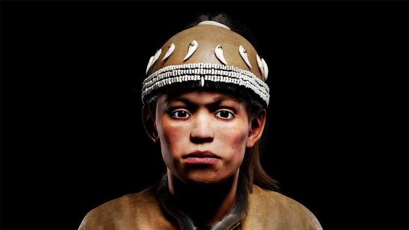 A reconstructed portrait of the 13 y.o. child from Sungir.