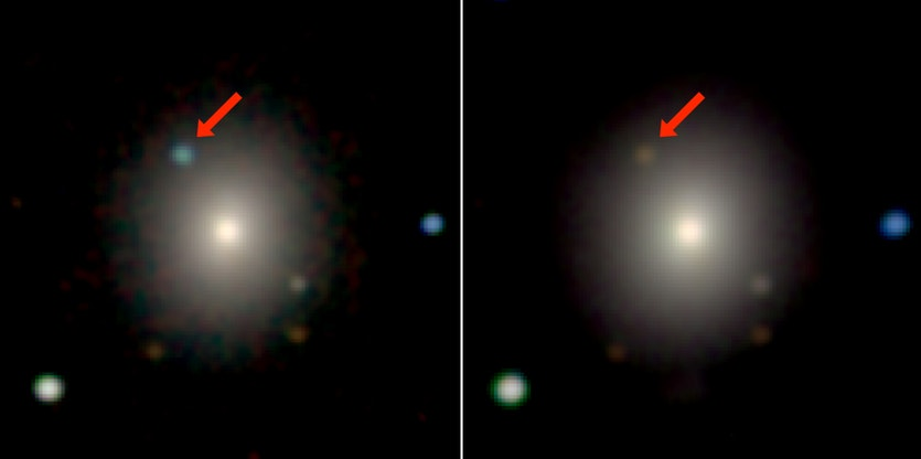 The arrows show the optical counterpart to the gravitational-wave source.
