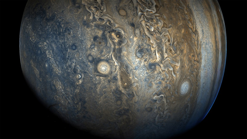 Citizen scientists Gerald Eichstädt and Seán Doran processed this image from publicly available Juno data.