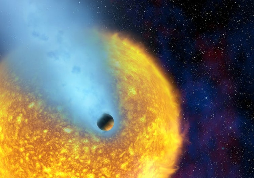 Artist's impression of the hot jupiter hd209458b - a planet so close to its star that its atmosphere is evaporating to space.