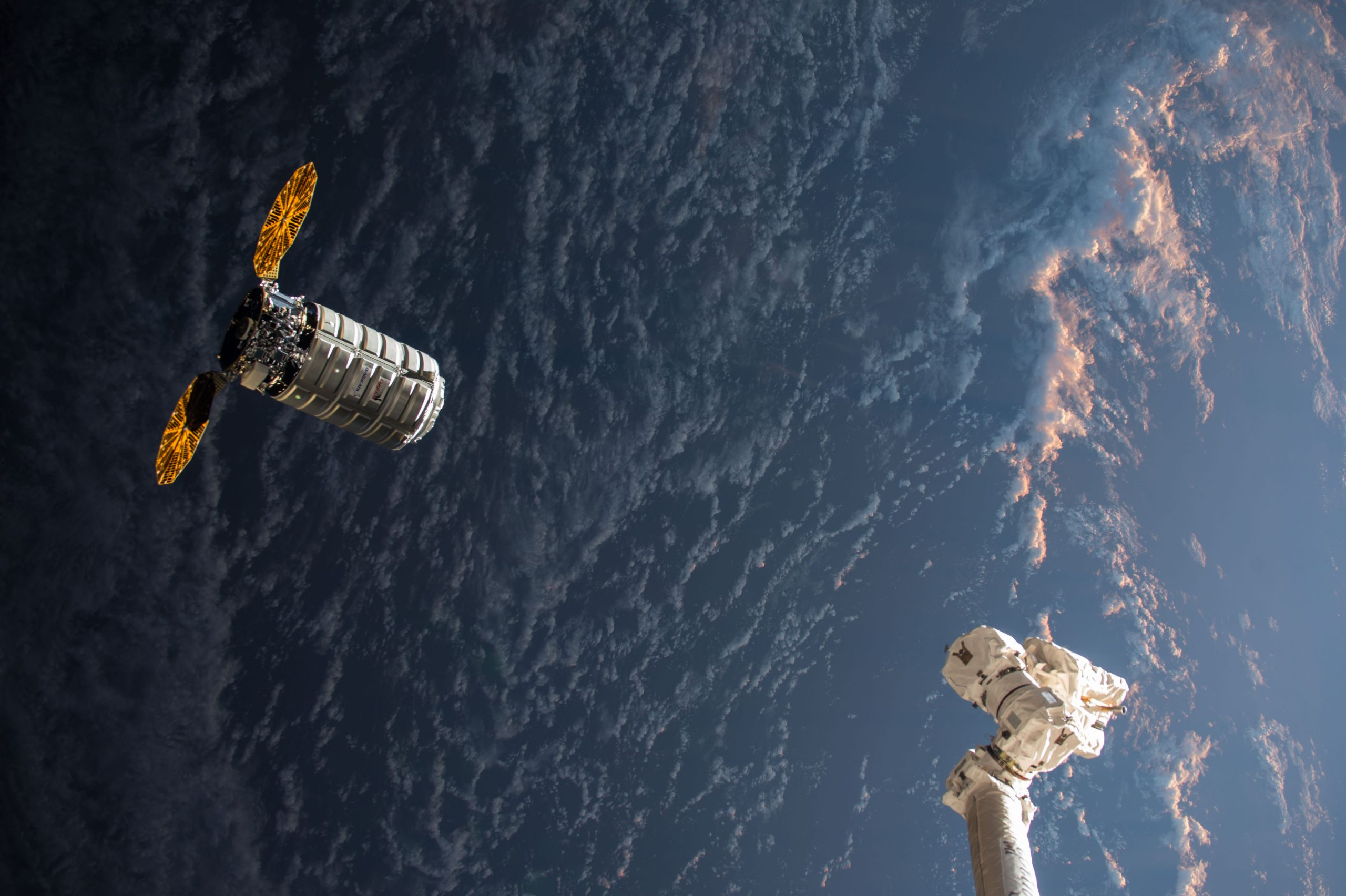 The Cygnus resupply ship pays a visit to the ISS.