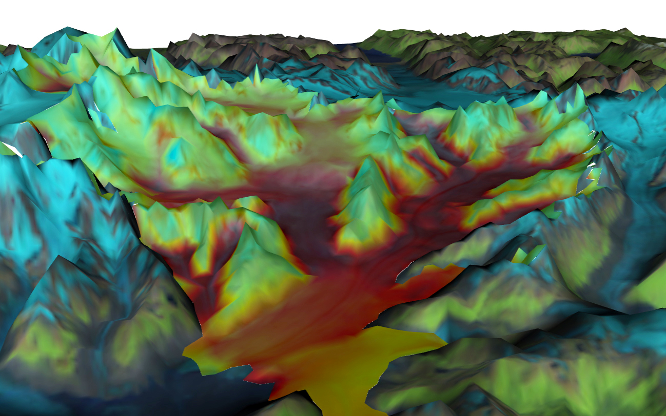 A VESL simulation of the Columbia Glacier in Alaska.