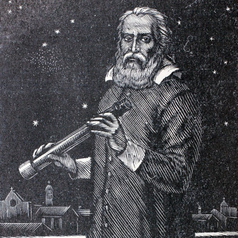 An illustration of Galileo Galilei with a telescope.