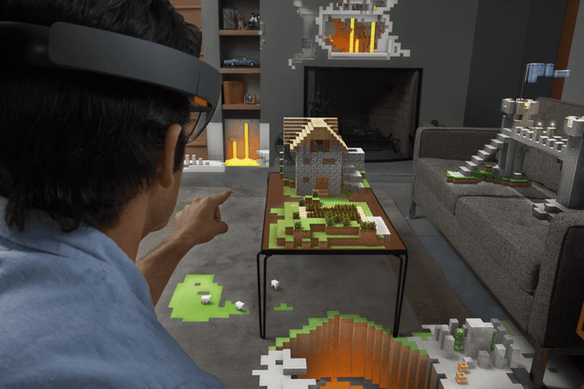 Playing Minecraft using the HoloLens augmented reality headset enhances the possibilities of play. The potential for AR systems is greater when they understand and interact with the whole environment.