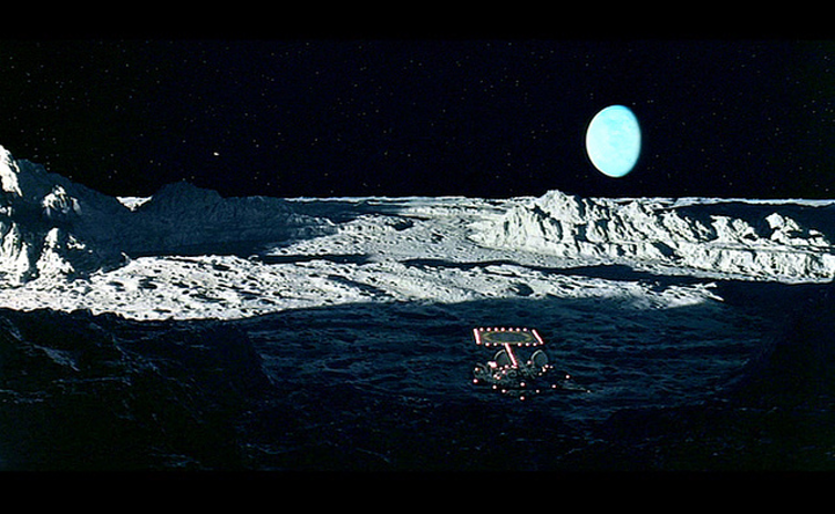 Earthrise on the Moon in 2001: A Space Odyssey.
