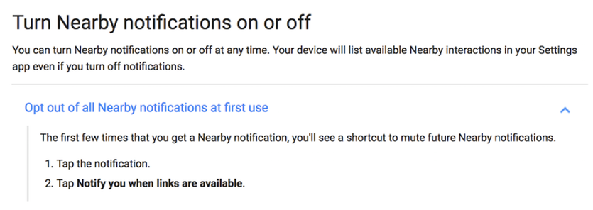 Google's FAQ explaining the opt-out process for the Nearby API.