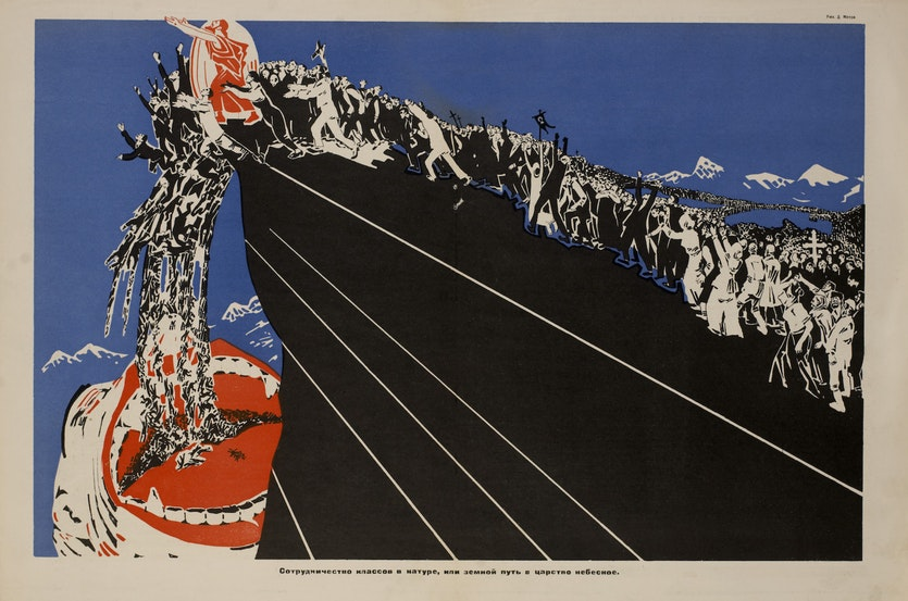 A 1925 poster by Russian artist Dmitry Moor portraying religious belief as a driver of enslavement.