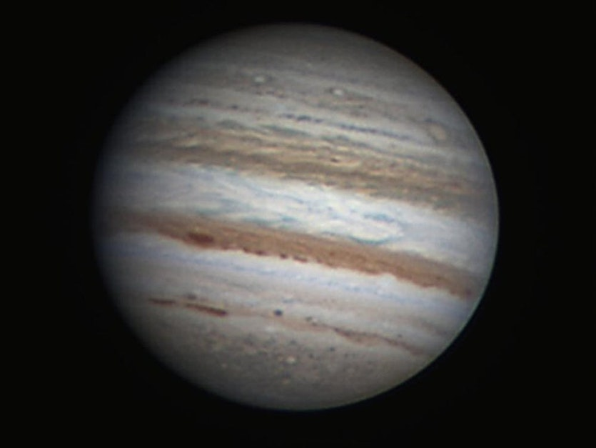 The bands of Jupiter captured by an Earth-based astronomer.