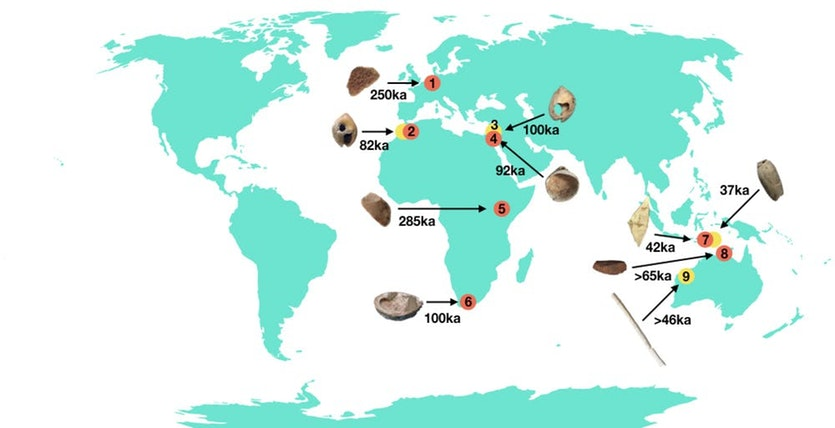 Location of some of the earliest evidence for body adornment (Red dot = ochre; Yellow dot = Bead or bone ornament): (1) Maastricht-Belvédère, (2) Grotte des Pigeons, (3) Skhul, (4) Qafzeh, (5) GnJh-15, (6) Blombos, (7) Jerimalai, (8) Madjedbebe, (9) Carpenter's Gap 1.