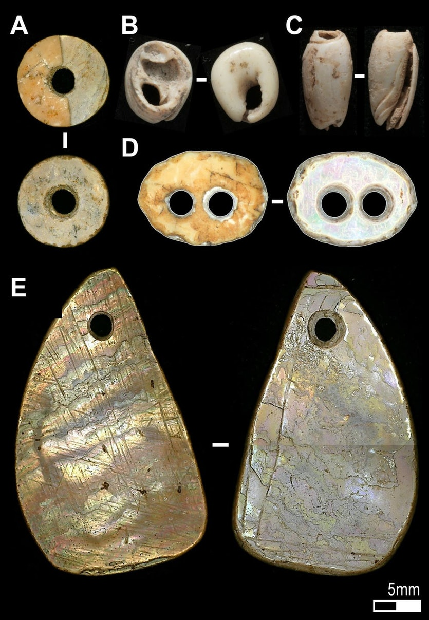 Shell beads such as these were made in southeast asia from at least 42,000 years ago.