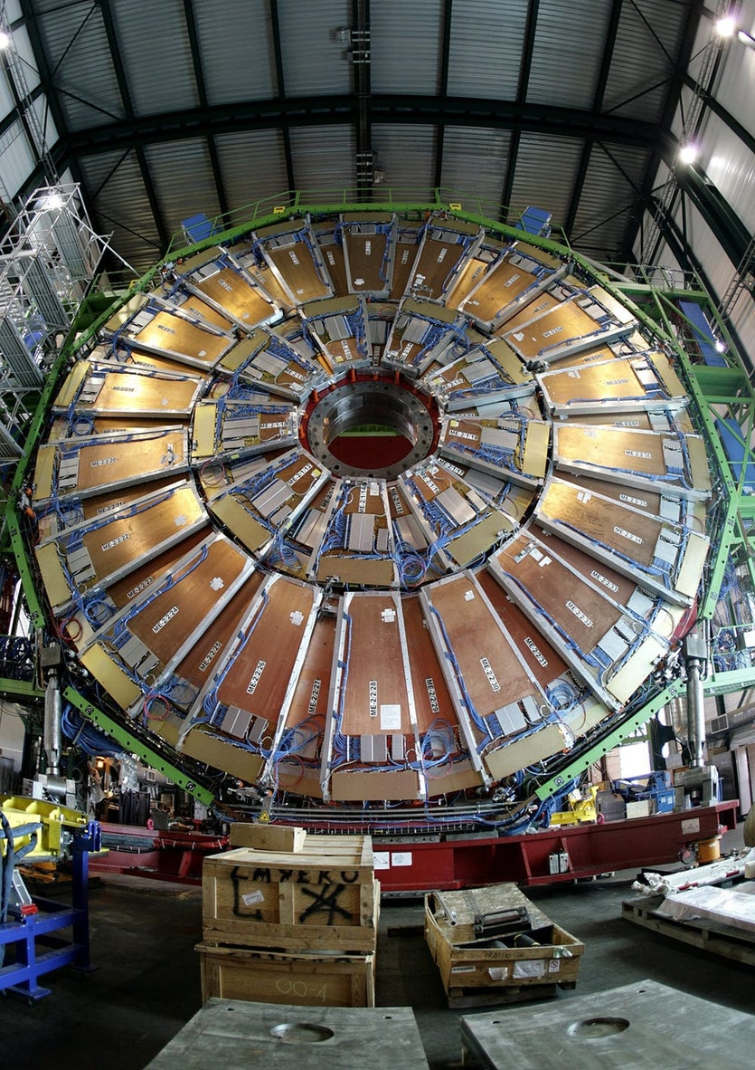 A view of the Compact Muon Solenoid detector at the European Organization for Nuclear Research (CERN)'s Large Hadron Collider (LHC) particle accelerator. The core of the Compact Muon Solenoid is the world's largest superconducting solenoid magnet.