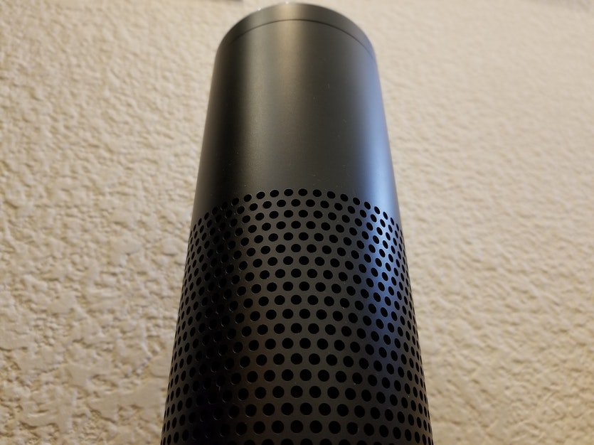 Looking distinctly monolithic, Amazon's smart-home system uses an AI voice assistant named Alexa, its vocal style influenced by that of Kubrick's HAL.