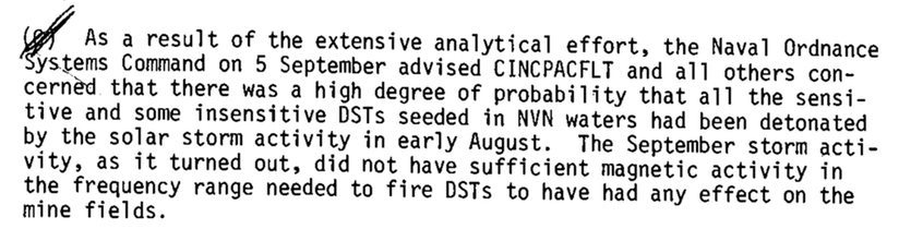 Declassified: excerpt from U.S. Navy Report, Mine Warfare Project Office - The Mining of North Vietnam, 8 May 1972 to 14 January 1973.