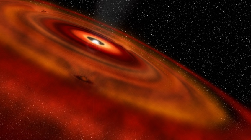 An artist's impression of gas and dust rotating around the young star HD 163296.