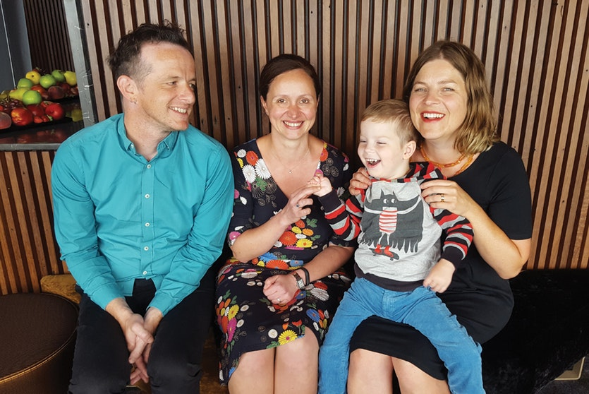 Dr Zornitza Stark (right) used genomic sequencing to diagnose Louis Clarke's rare disease, much to his parents' relief (left).