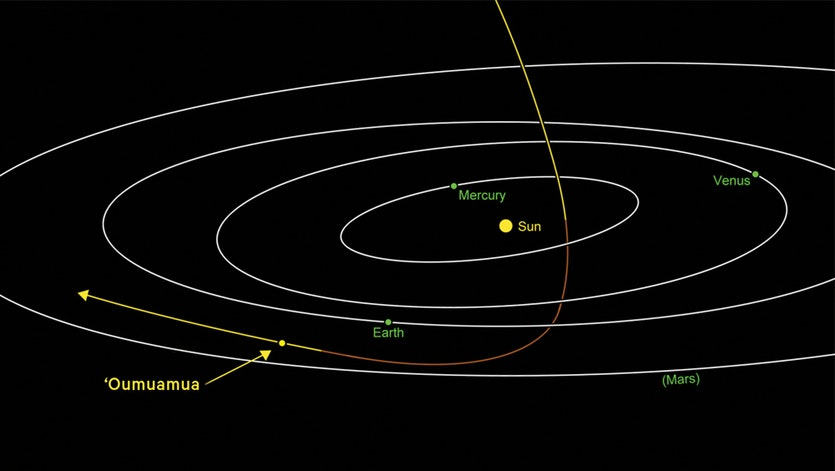 Differentiating an alien spaceship from another flying object. The path of 'Oumuamua, showing the point at which it was spotted.