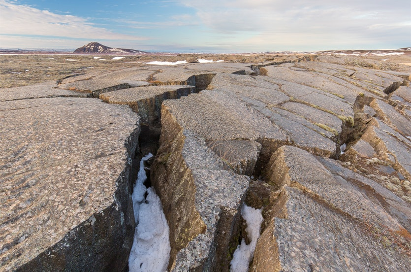 Iceland's lava fields: evidence of the rift between the North American and Eurasian tectonic plates.