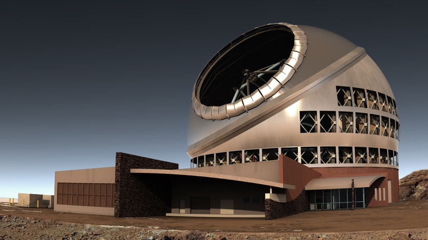 Side view of Thirty Metre Telescope complex.
