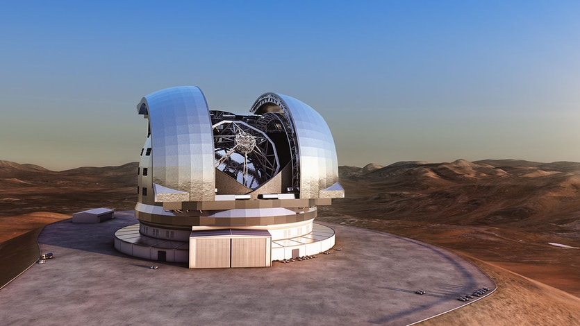 Artist's impression of the European Extremely Large Telescope (E-ELT) in its enclosure on Cerro Armazones, in Chile's Atacama Desert. The design for the E-ELT shown here is preliminary.